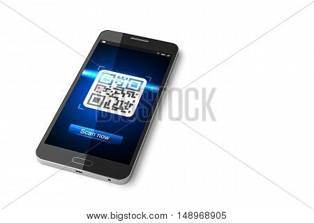 Smartphone with scanned QR code on display. 3D illustration