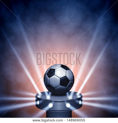 Soccer ball on display with spotlights copyspace , Football , 3d illustration