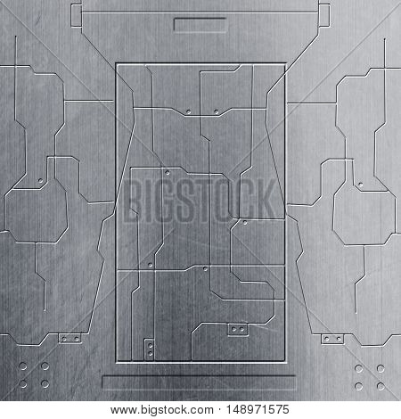 scifi wall. chrome metal wall and circuits. metal background and texture. technology concept.