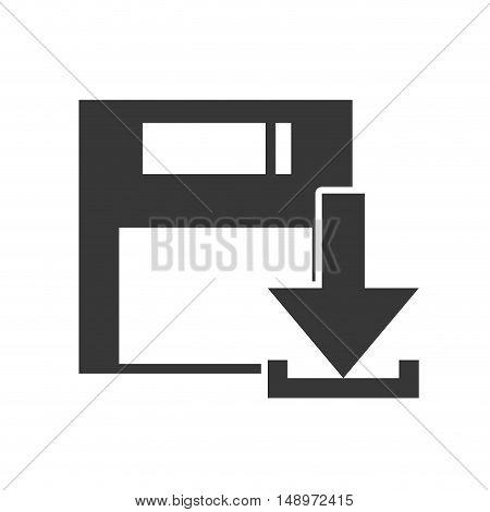 data diskette retro device with download arrow icon silhouette. vector illustration