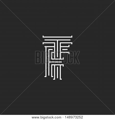 Initials TF letters logo monogram line intersection calligraphic flat hotel emblem FT combination connected symbols F T template poster