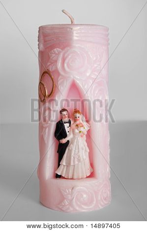 Weeding Candle On Gray Background