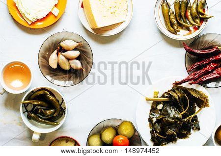 Cucumber Marinated Bowl With Pepper And Garlic.  Group Of Fermen