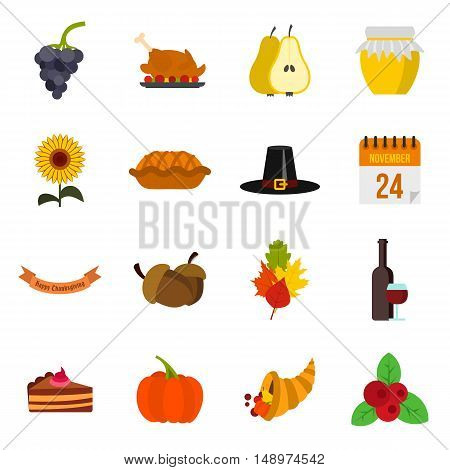 Thanksgiving icons set in flat style. Happy thanksgiving day set collection vector illustration