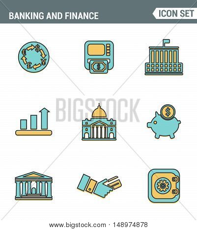 Icons line set premium quality of money making banking and financial services. Modern pictogram collection flat design style symbol . Isolated white background