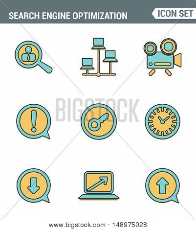 Icons line set premium quality of search engine optimization tools for growth traffic. Modern pictogram collection flat design style symbol . Isolated white background
