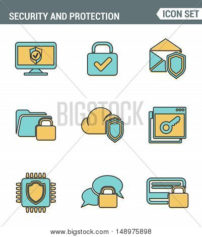 Icons line set premium quality of cyber security computer network protection. Modern pictogram collection flat design style symbol . Isolated white background