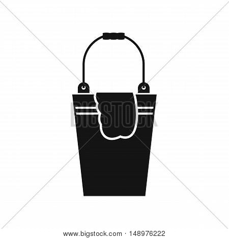 Bucket and rag icon in simple style on a white background vector illustration