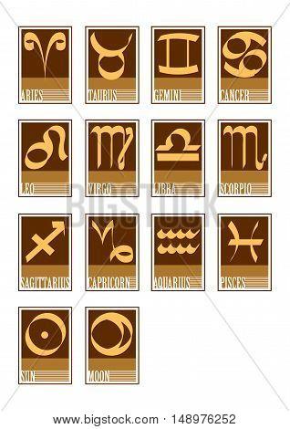Vector illustration of 14 zodiac star icons