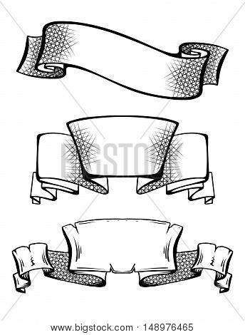 Set of vintage ancient scrolls and ribbons with hatching space for text. Element for tattoo sketch. Vector element for cards printing on T-shirts and your creativity