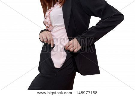 Chubby businesswoman cannot button up her clothes. belly fat concept