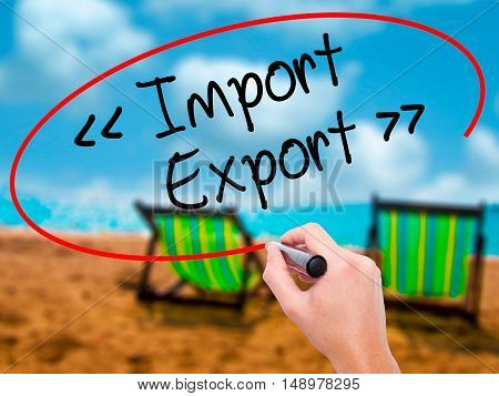 Man Hand Writing Import - Export With Black Marker On Visual Screen.