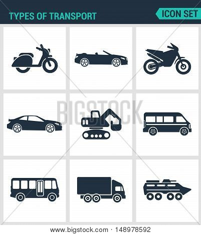 Set of modern vector icons. types of transport scooter convertible motorcycle car tractor eskalator bus truck tank. Black signs on a white background. Design isolated symbols and silhouettes.