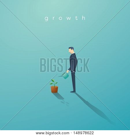 Business concept of growth. Businessman watering small green plant or tree. Symbol of success, future. Eps10 vector illustration.