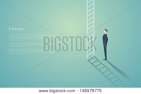 Business career ladder concept with businessman vector symbol. Corporate job promotion, progress, growth. Eps10 vector illustration.