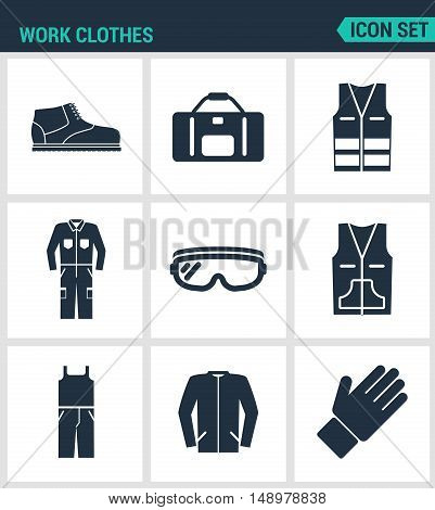 Set of modern vector icons. Work clothes shoes bag vest working suit protective glasses sweater gloves. Black signs on a white background. Design isolated symbols and silhouettes.