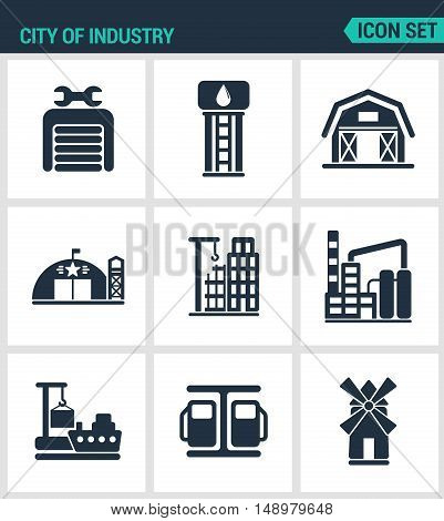 Set of modern vector icons. City of industry garage pumping station farm military base home building plant port loading mill. Black sign white background. Design isolated symbols silhouettes.