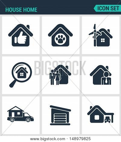 Set of modern vector icons. House home selling home shelter animal power search seed agent motor home garage car. Black signs on a white background. Design isolated symbols and silhouettes.