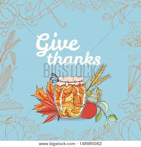 Autunm invitation card can be used as invitation card, postcard or website banner. Season hand drawn greeting card. Vector illustration.