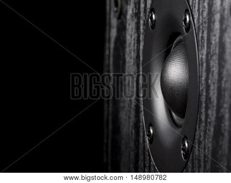 Black and white image of a high-frequency audio speaker on a wooden case. There is an empty seat for your text.