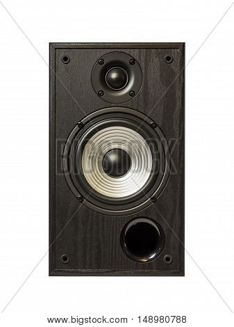 Image of professional audio speaker in a wooden case. Photo isolated on white background.