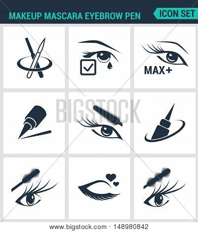 Set of modern vector icons. Makeup mascara eyebrow pen Care for lashes eyeliner mascara pencil. Black signs on a white background. Design isolated symbols and silhouettes.