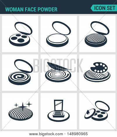 Set of modern vector icons. Woman face powder reticulation blush eye shadow. Black signs on a white background. Design isolated symbols and silhouettes.