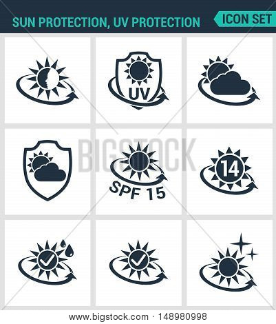 Set of modern vector icons. Sun uv light protection round the clock protection from weather SPF. Black signs on a white background. Design isolated symbols and silhouettes