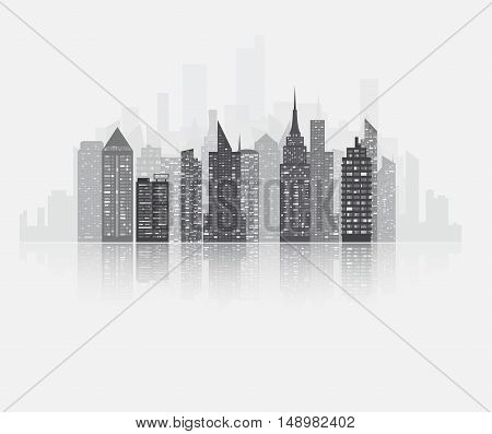 Realistic detailed urban view with skyscrapers. Plenty of bigg skyscrapers with many glowing in the night windows. Cityscape gray skyline with water reflection. Vector illustration.