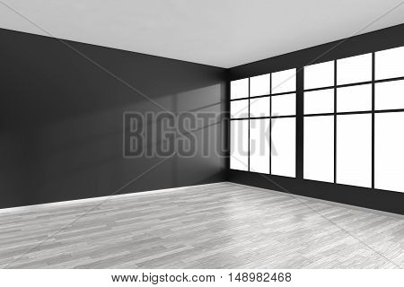 Black and white empty room with white hardwood parquet floor black walls and big window and sunlight from window minimalist interior 3d illustration