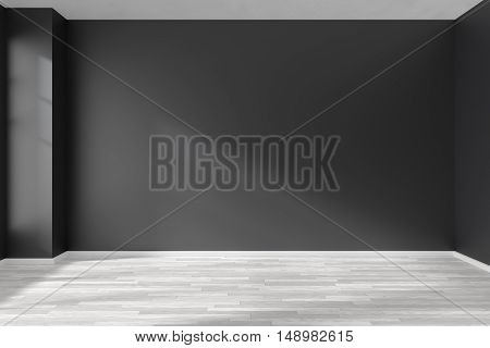 Black and white empty room with white hardwood parquet floor black walls and sunlight from window on the wall minimalist interior 3d illustration