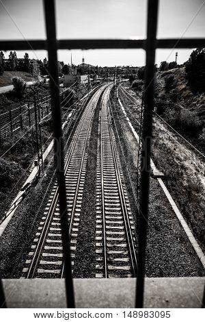 Train Tracks In Sant Cugat Del Valles Catalonia