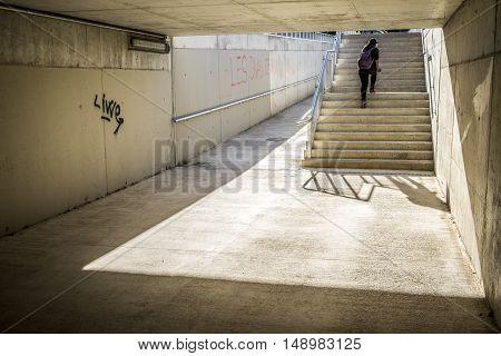 Stairs In A Bridge In Sant Cugat Del Valles Barcelona