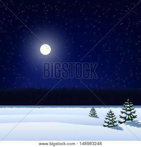 vector illustration. Winter night background. The sky with stars the moon the snow-covered field with Christmas trees and forest