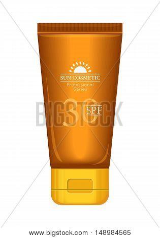 Sun cosmetics professional series. Suntan cream 30 SPF. Sunscreen care sun protection. Cosmetics container orange cream icon in flat style. Part of series of decorative cosmetics items. Vector