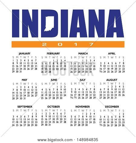 A 2017 creative Indiana calendar with the state outline