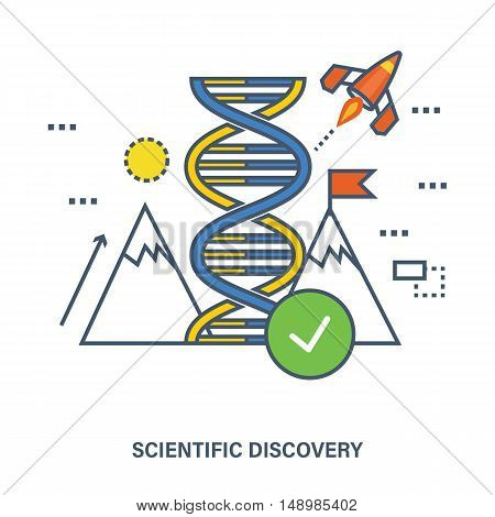 The concept is based on the idea of the world's scientific discoveries, innovation and technological progress. Vector illustration.