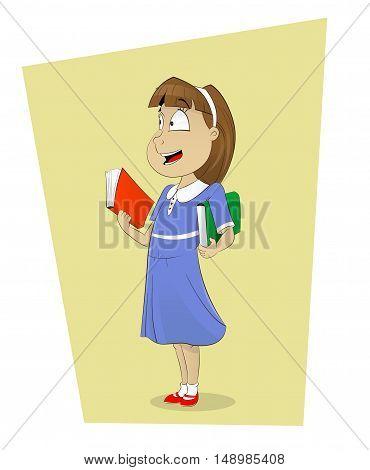 Vector illustration of cartoon girl holding books. Schoolgirl character