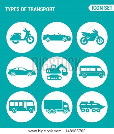 Vector set web icons. Types of transport scooter convertible motorcycle car tractor backhoe bus truck tank. Design of signs symbols on a turquoise background