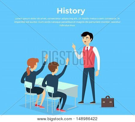 Subject of history education conceptual banner flat. Education study communication. Students college school and the university of sitting at their desks in a chair history lesson. Vector illustration