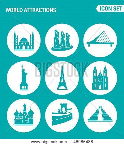 Vector set web icons. World attractions Mosque rapa nui Bridge Statue Eiffel Tower Church Chinese Wall Pyramid. Design of signs symbols on a turquoise background