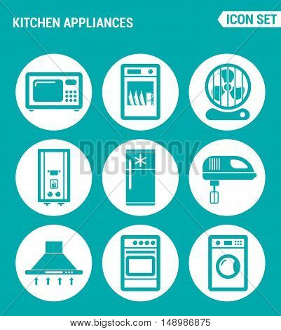 Vector set web icons. Kitchen appliances microwave dishwasher fan boiler refrigerator blender extractor hood gas stove washing machine. Design signs symbols isolated turquoise background
