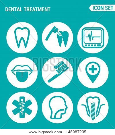 Vector set web icons. Dental treatment tooth drilling machine tool device tongue toothbrush location clinic throat filling teeth implants. Design of signs symbols on a turquoise background