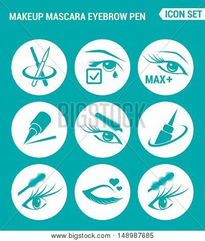 Vector set web icons. Makeup mascara eyebrow Care for lashes eyeliner. Design of signs symbols on a turquoise background