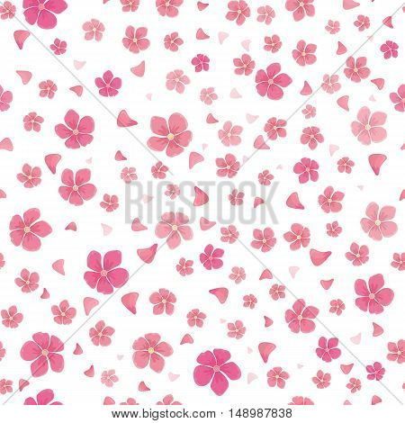 Sakura flowers isolated on white. Seamless pattern. Full blossom of traditional asian cherry tree flowers. Japanese cherry, Prunus serrulata. Cherry blossom. National flower of Japan. Pink flowers. Vector