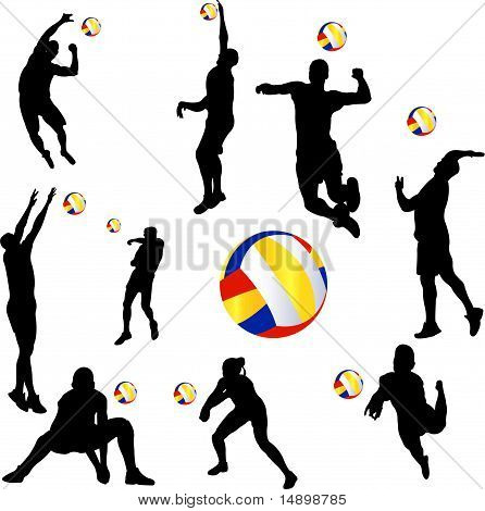 volleyball player set - vector