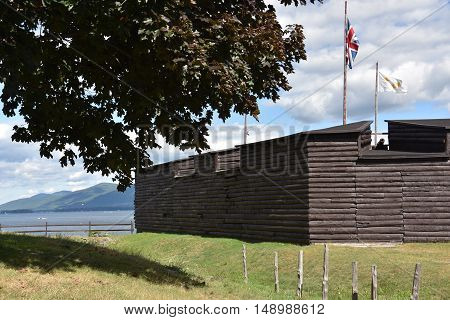 LAKE GEORGE, NY - SEP 24: Fort William Henry in Lake George, New York, as seen on Sep 24, 2016. It is now operated as a living museum and a popular tourist attraction.