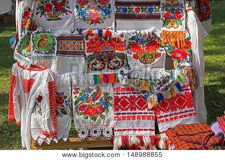 Traditional Romanian folk embroidery specific on Bistrita-Nasaud area exposed for sale.