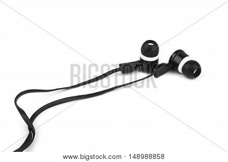 Modern portable audio earphones isolated on a white background