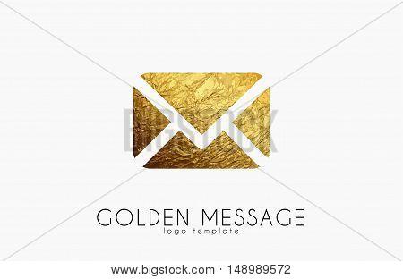 Message sign. Golden message logo. Envelope sign. Creative logo